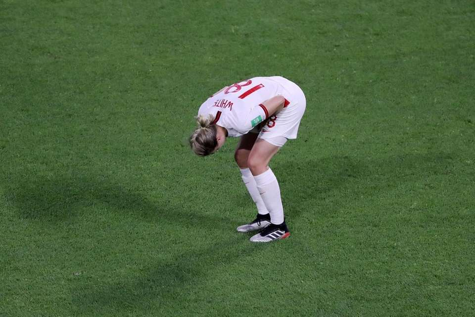 Ellen White of England reacts during the 2019