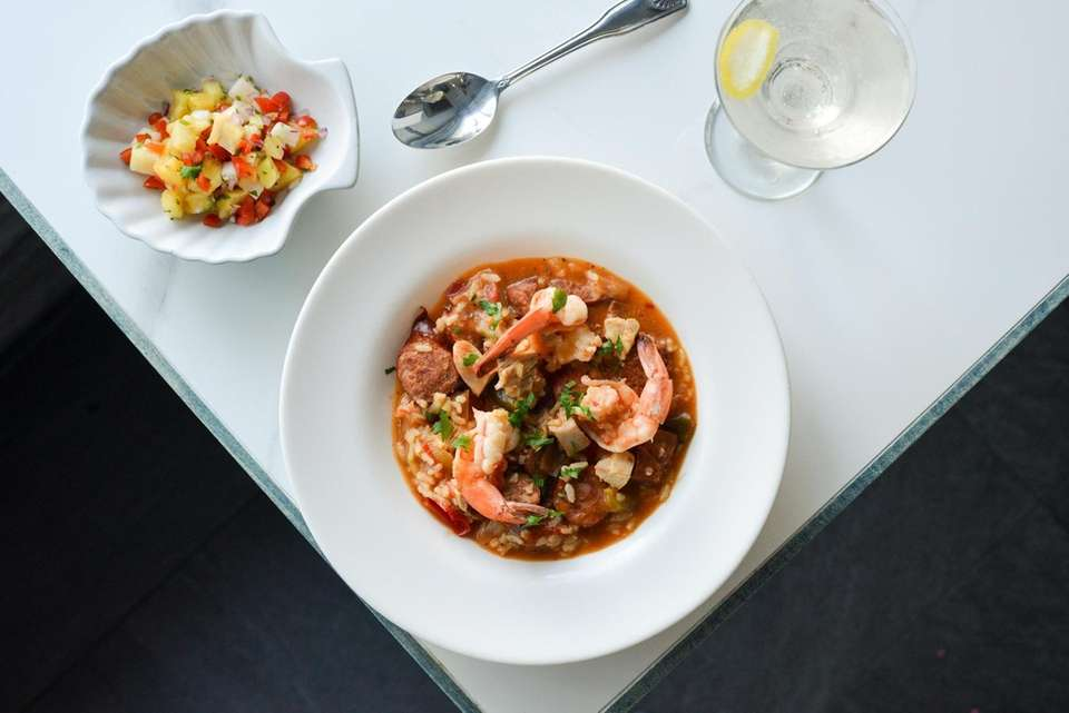 Chicken and shrimp jambalaya with andouille spicy sausage,