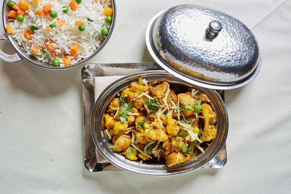The aloo gobi with cauliflower and potatoes prepared