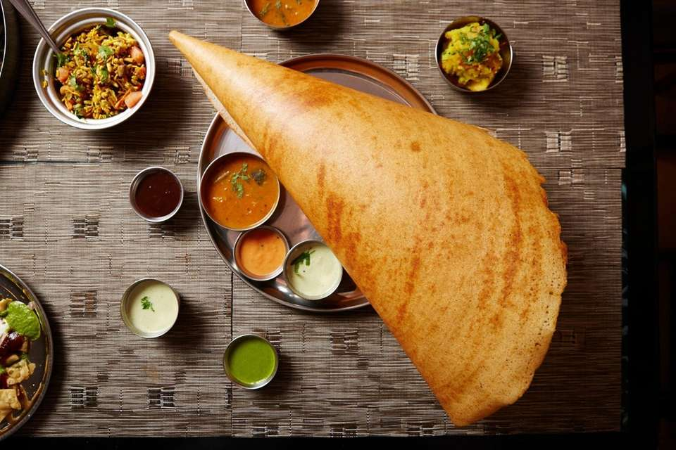 Masala dosa with a mildly spiced potato filling