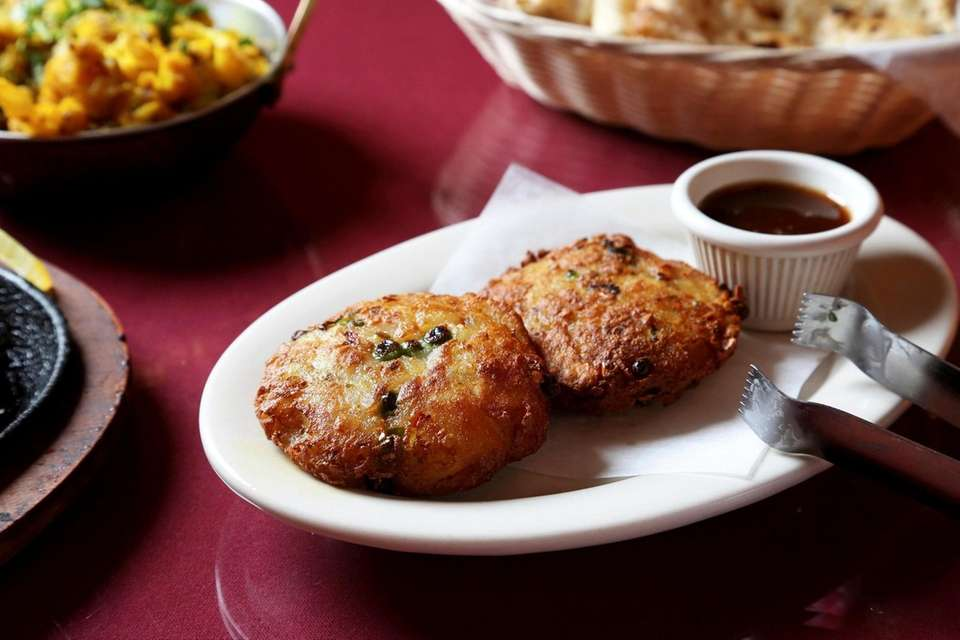 Aloo tikki is served at Lazzat in Wantagh.