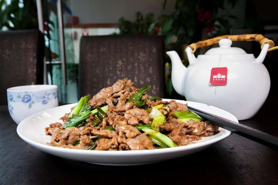 Lamb with scallions from Beijing House in Syosset.