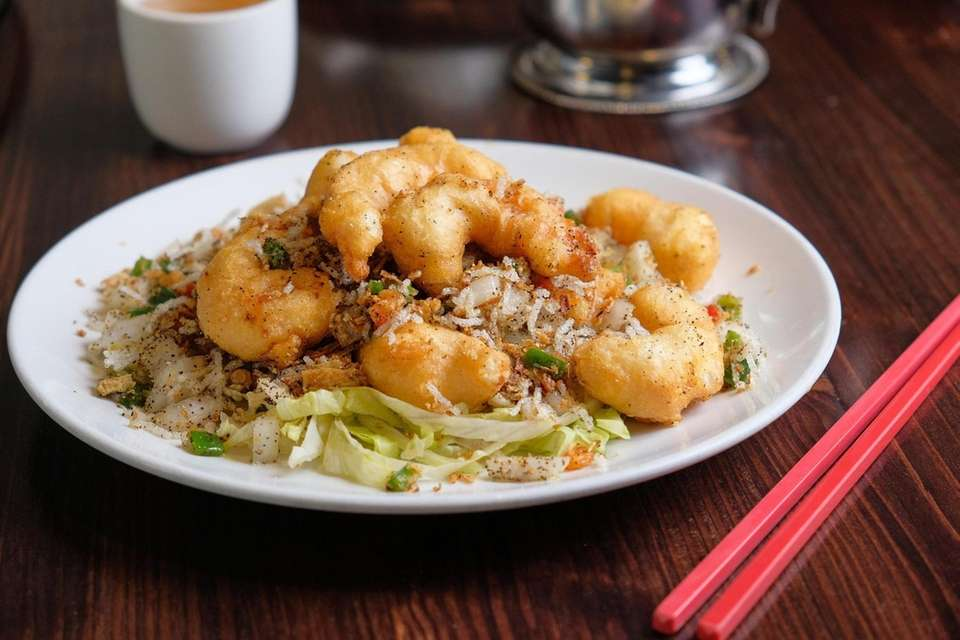 Salt and pepper shrimp, prepared at Cheng Du
