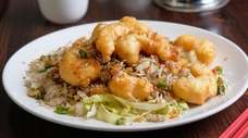 Salt and pepper shrimp, prepared at Cheng Du