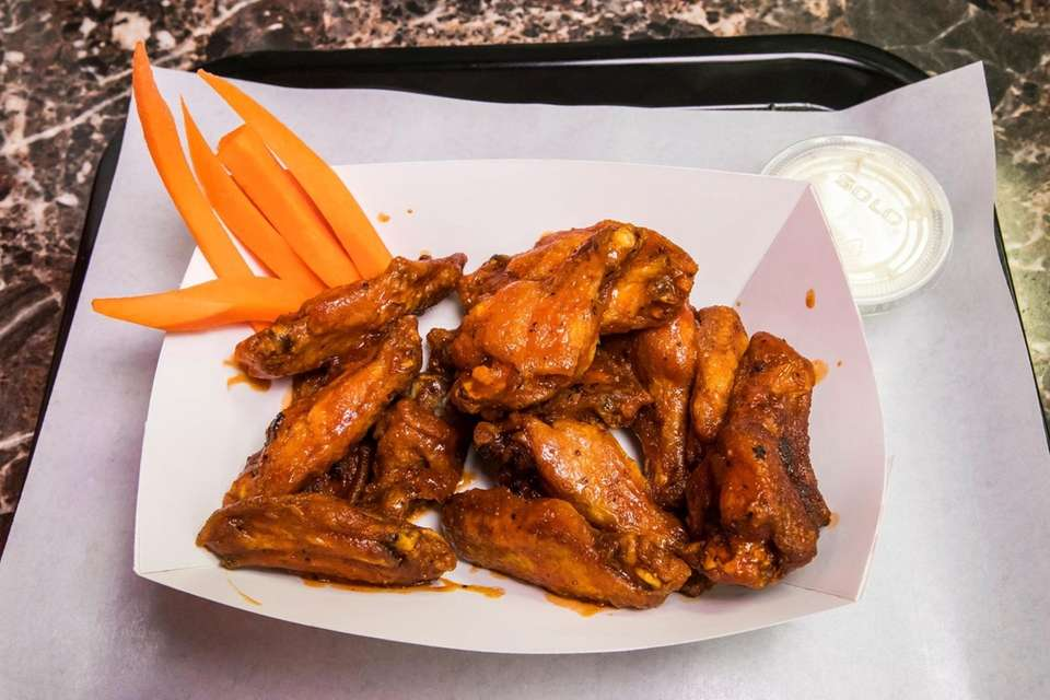 Smoked Fried Wings, BBQ and Buffalo sauce from
