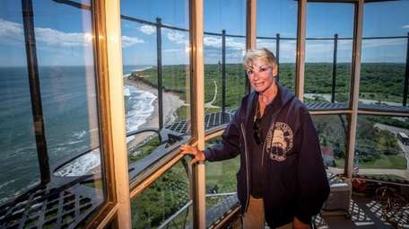 Docent Grace Miedzwiecki like the view from atop