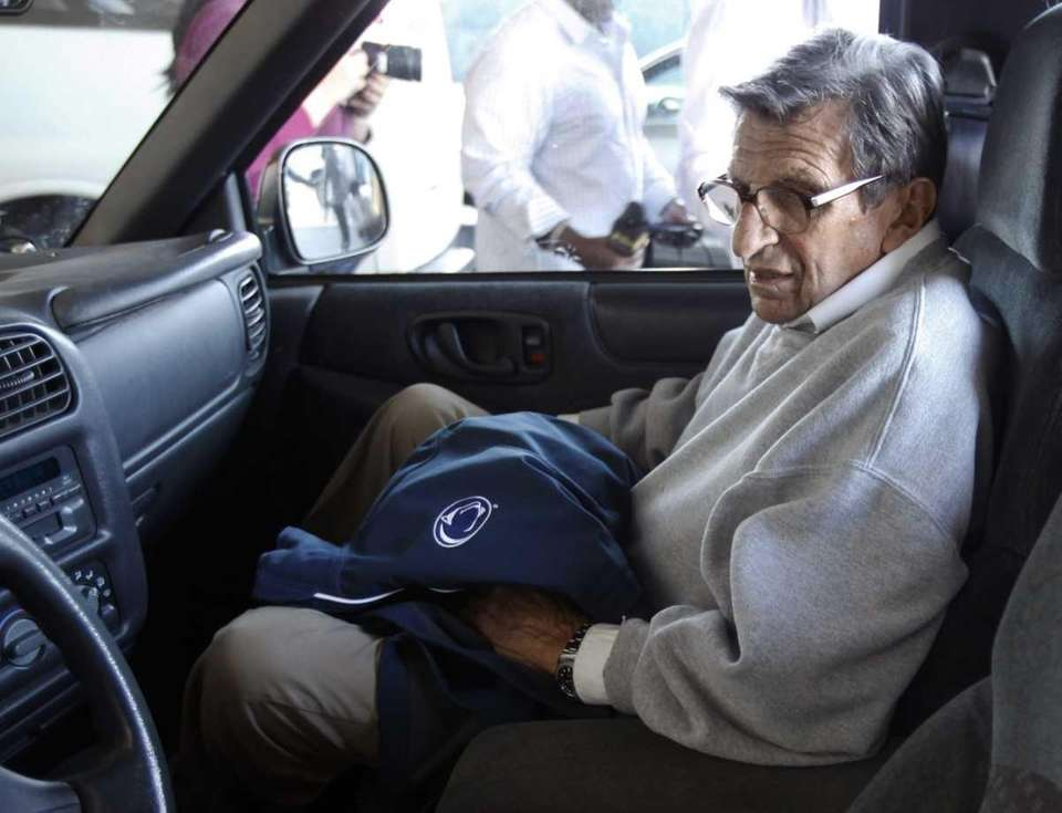 Penn State football coach Joe Paterno is driven