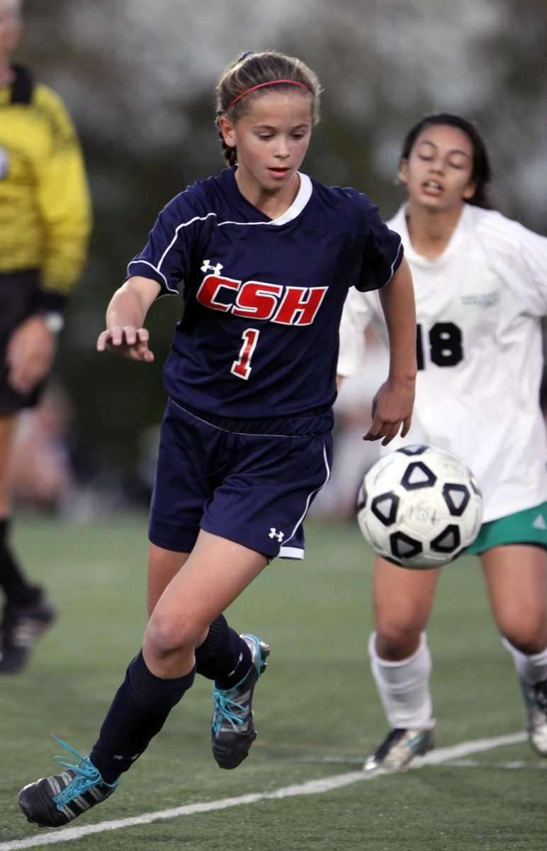 Cold Spring Harbor's Katie Hudson controls the ball