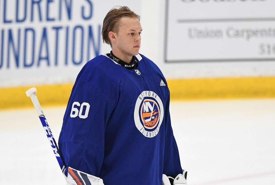 New York Islanders goalie Linus Soderstrom looks on