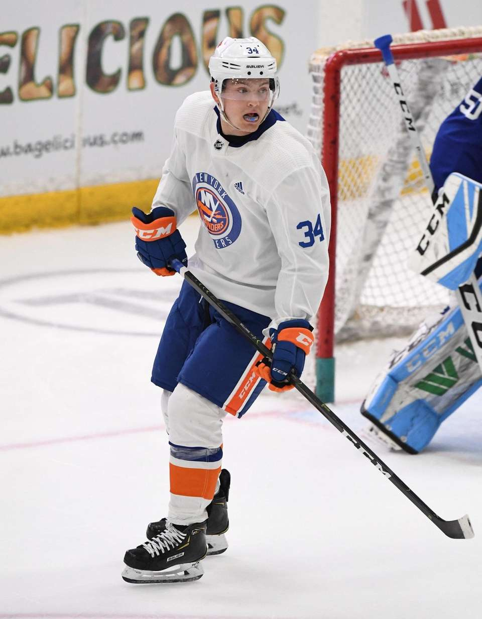 New York Islanders forward Kieffer Bellows skates in