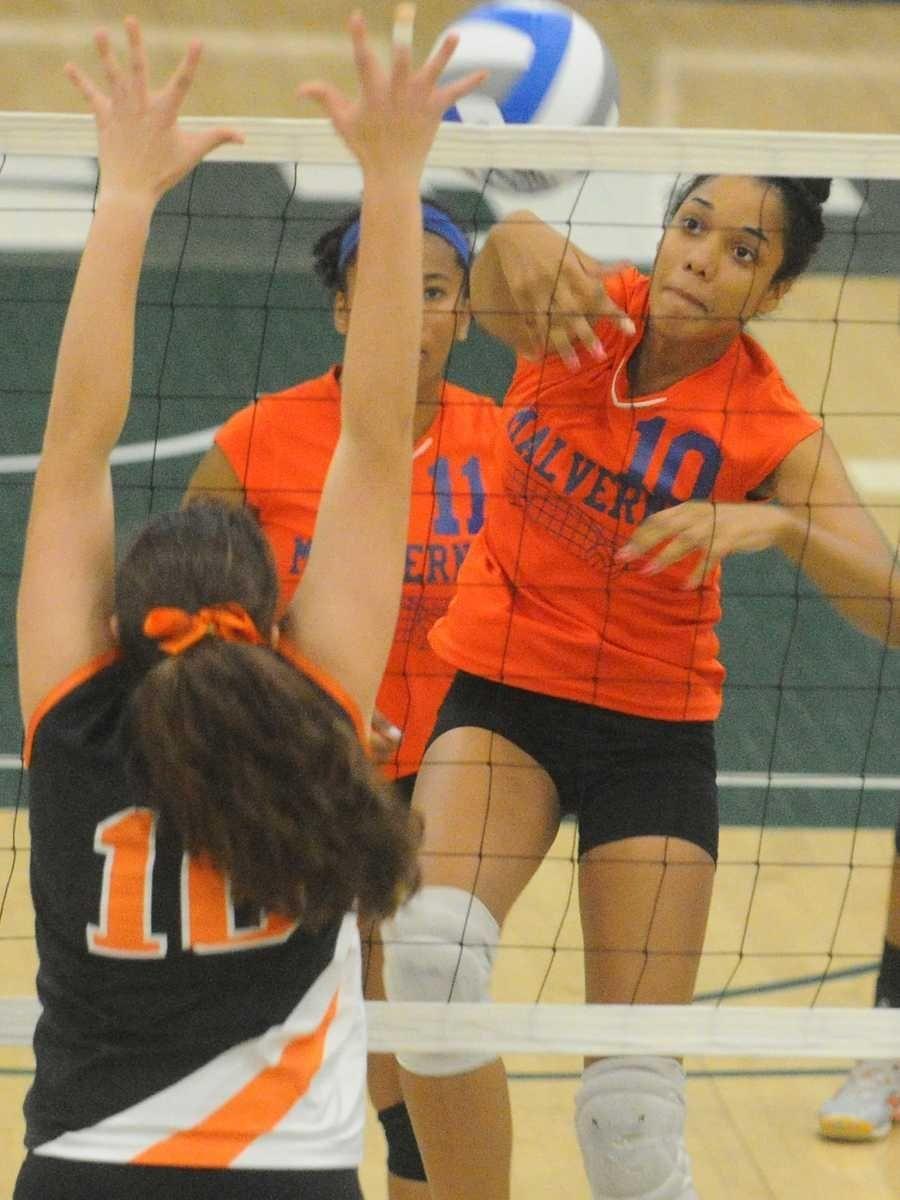 Malverne High School #10 Danielle Hinds, right,