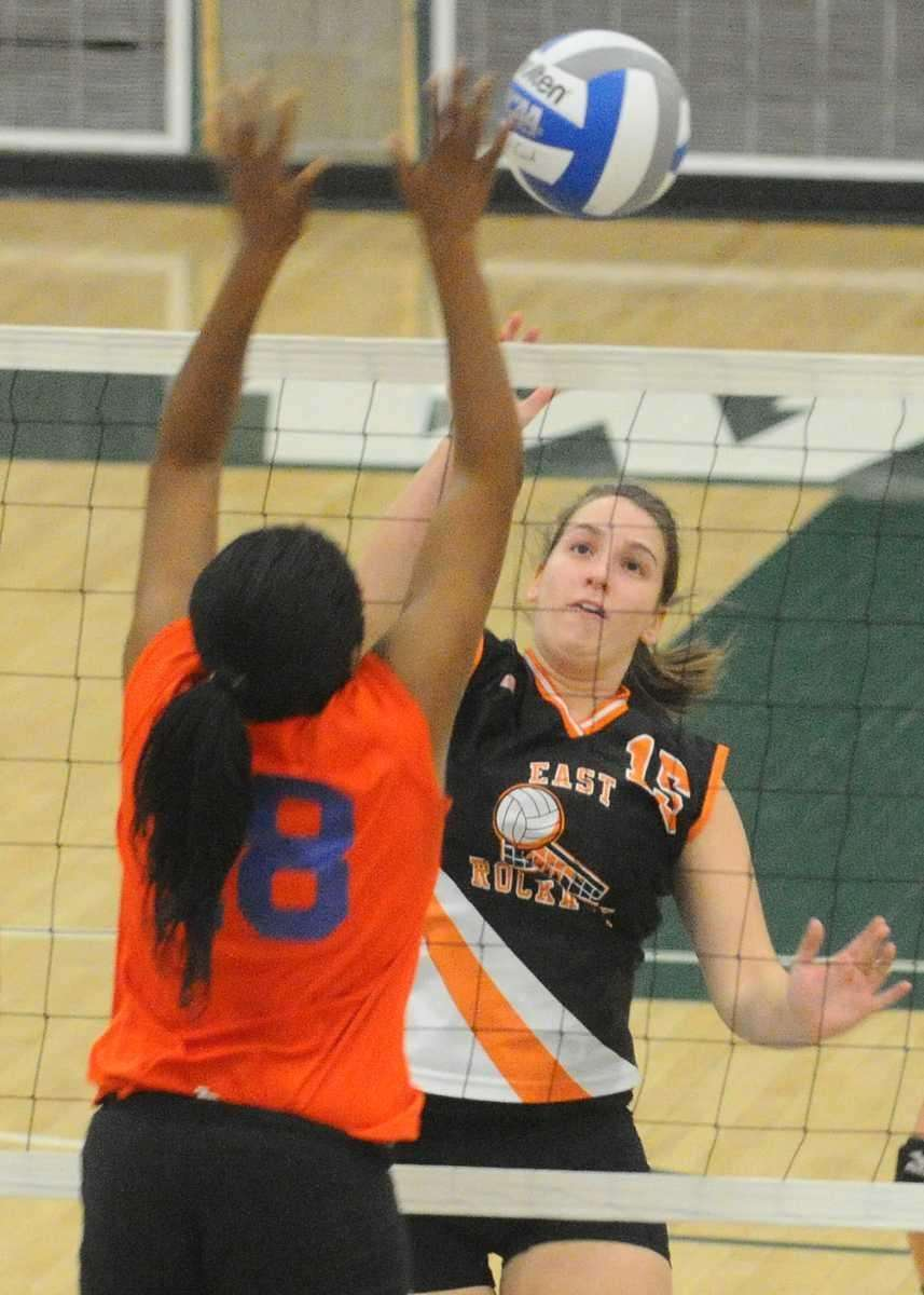 East Rockaway High School #15 Lindsey Dinowitz, right,