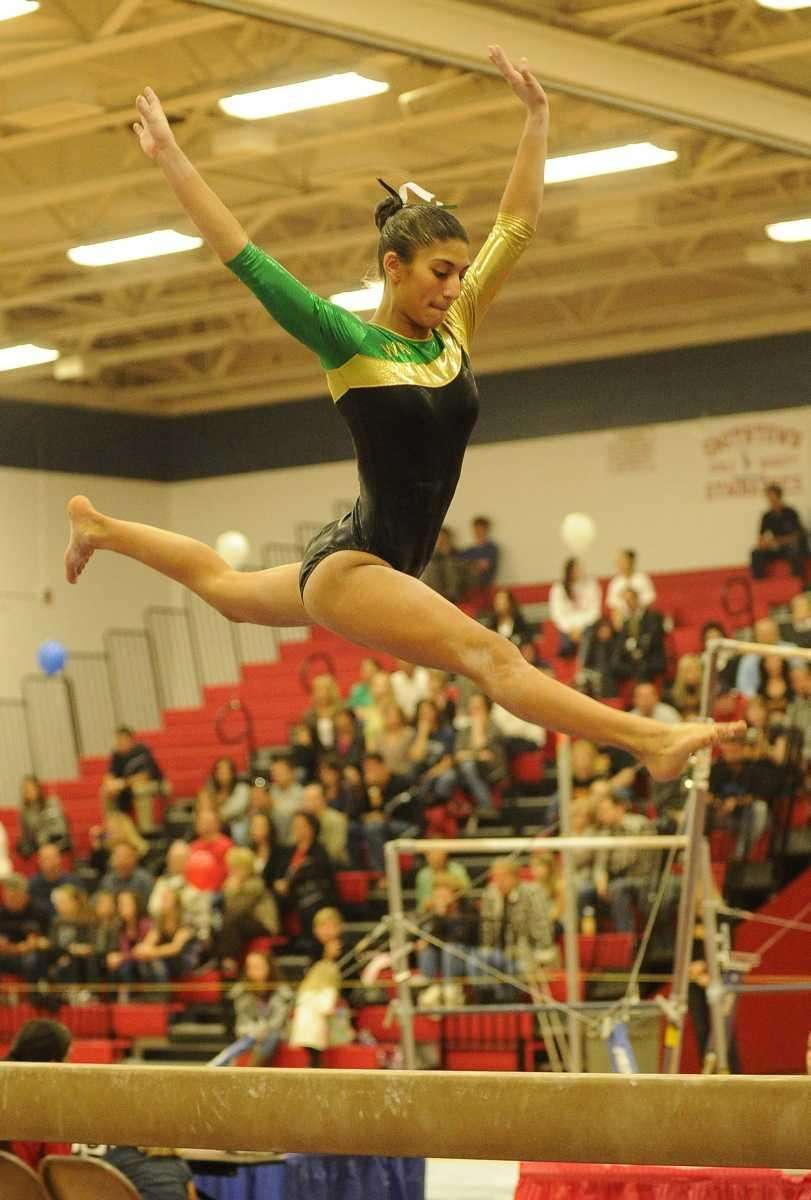 Ward Melville's Taja Slade competes on the balance