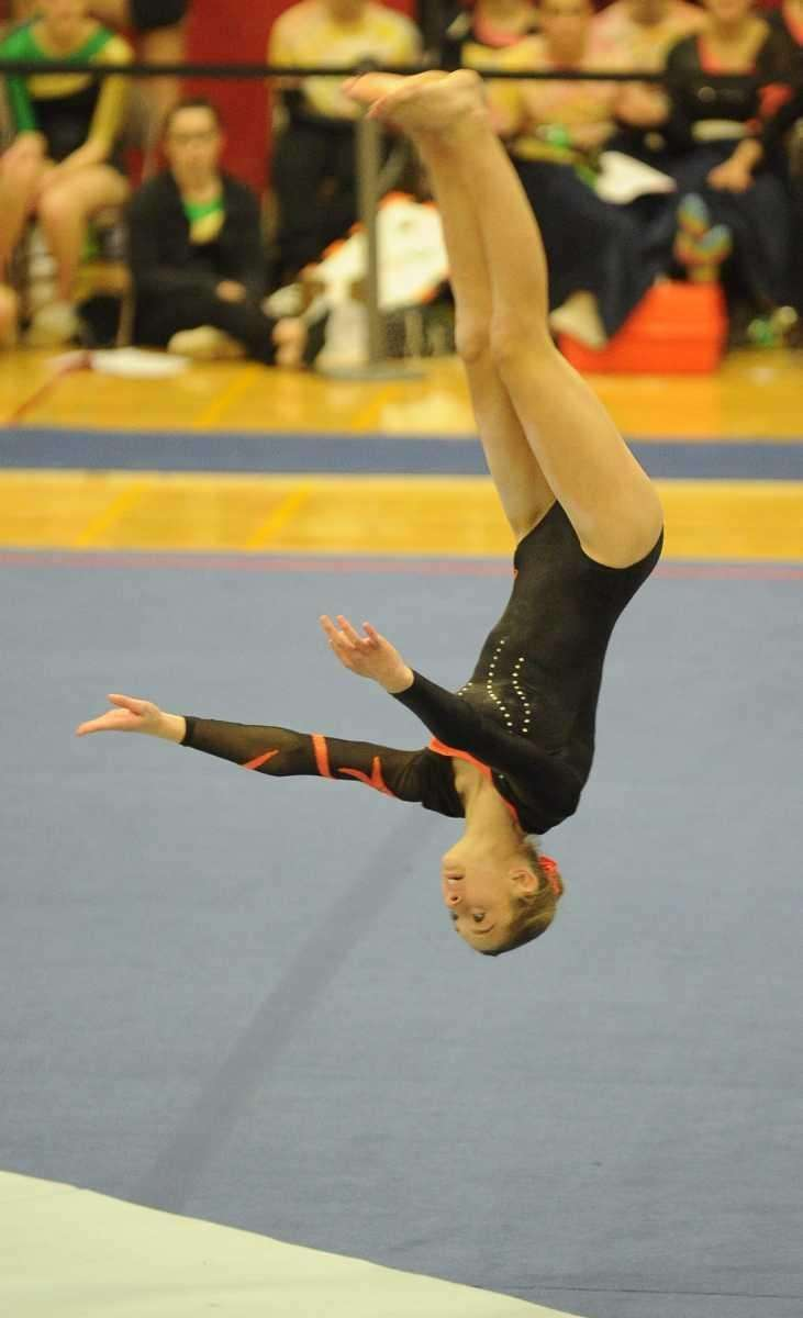 Babylon's Kayla McCarthy performs during the floor exercise