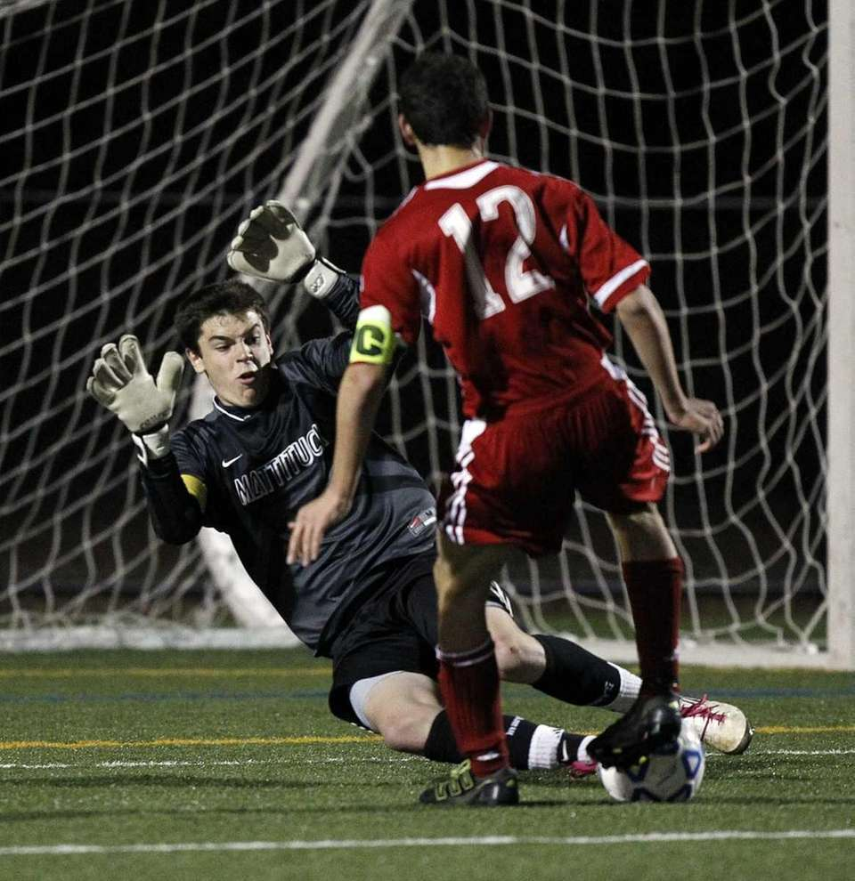 Mattituck's keeper Austin Scoggin with the point-blank save