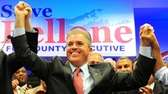 Democrat Steve Bellone speaks to supporters in Hauppauge