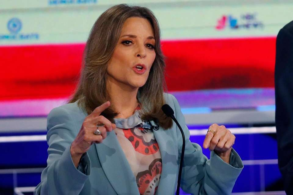 Democratic presidential candidate author Marianne Williamson speaks during