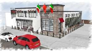 An architectural rendering of Sansone Foods' remodeled building.
