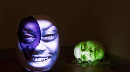 "Gallery view of ""Water Memory"" with Tony Oursler's"