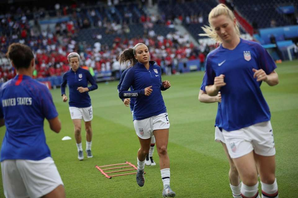 U.S. players warm up before the Women's World