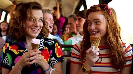 Millie Bobby Brown and Sadie Sink in Netflix's