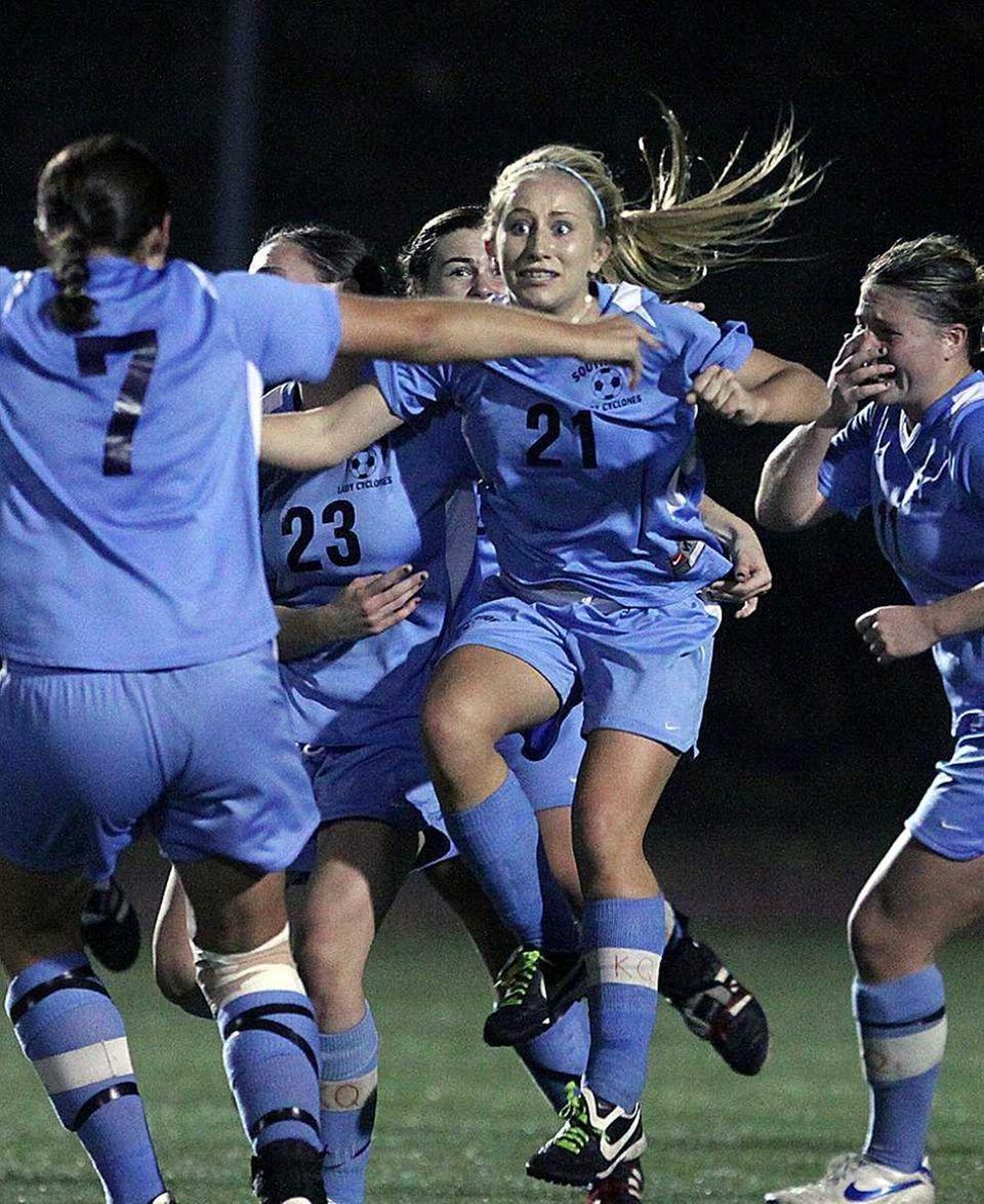South Side's Christina Klaum celebrates after scoring goal