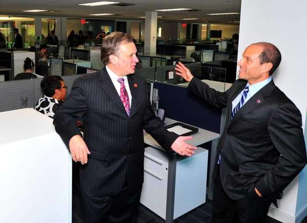 Nassau County Executive Ed Mangano, left, talks with