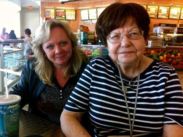 Levittown's Patti Brownstone, 51, left, has lunch with
