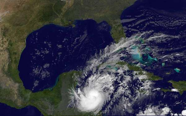 This image provided by NASA shows Hurricane Rina
