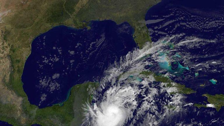 This image provided by NASA shows Hurricane Rina