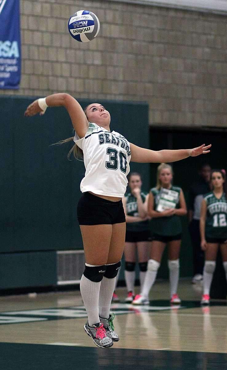 Seaford's Emily Palermo with the serve during the