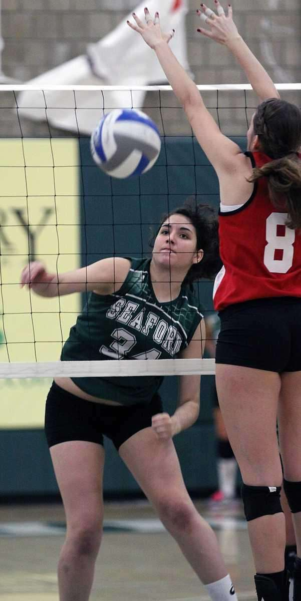 Seaford's Jessica Rini watches the winning point clear