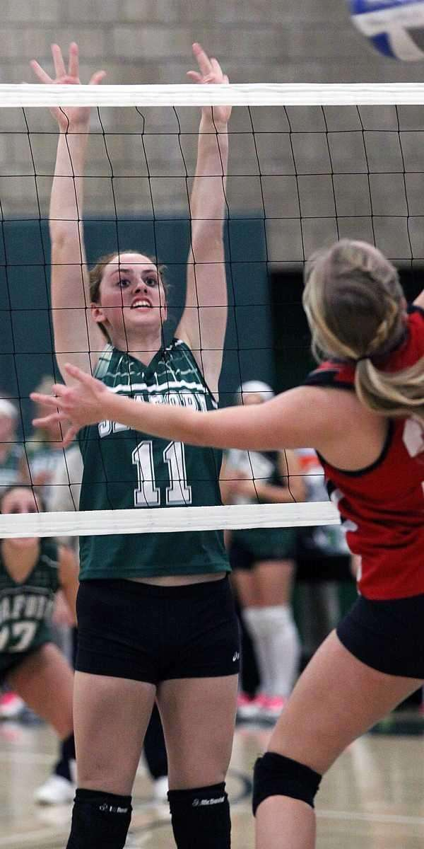 Seaford's Megan Russell looks for the block during