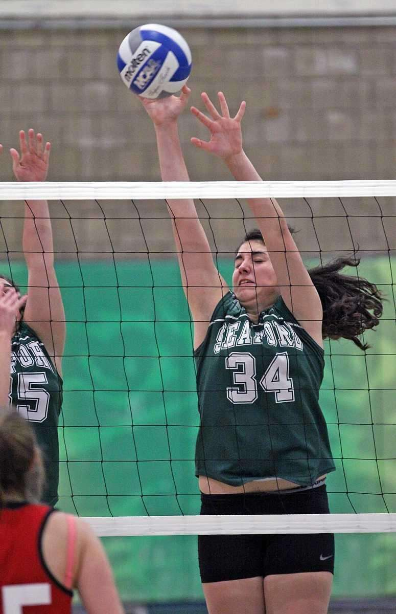 Seaford's Jessica Rini goes for the block during