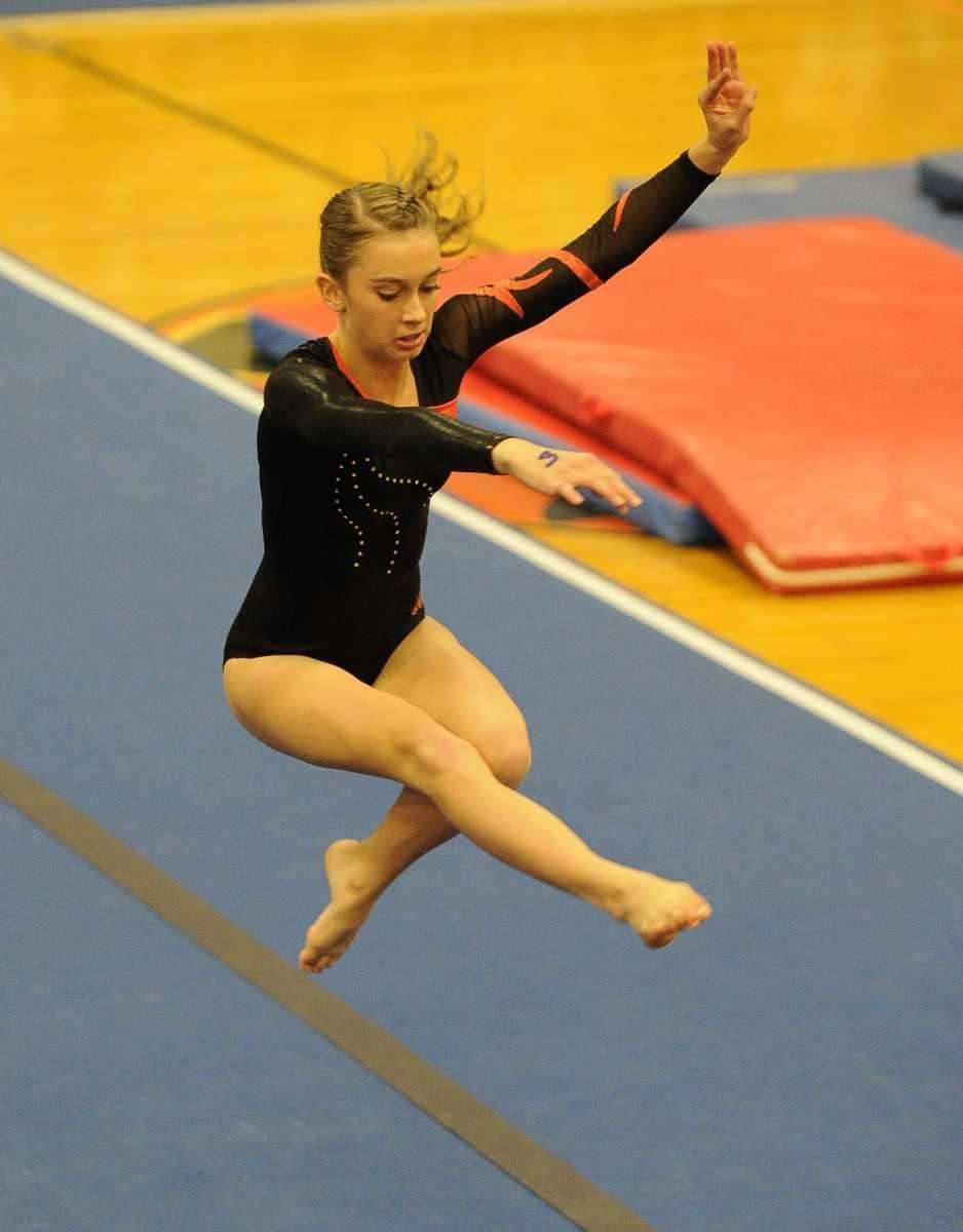 Babylon's Kayla McCarthy competes in the floor exercise
