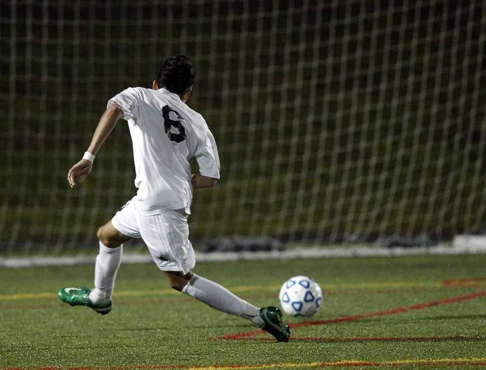 Brentwood's Ever Torres (6) puts a shot into