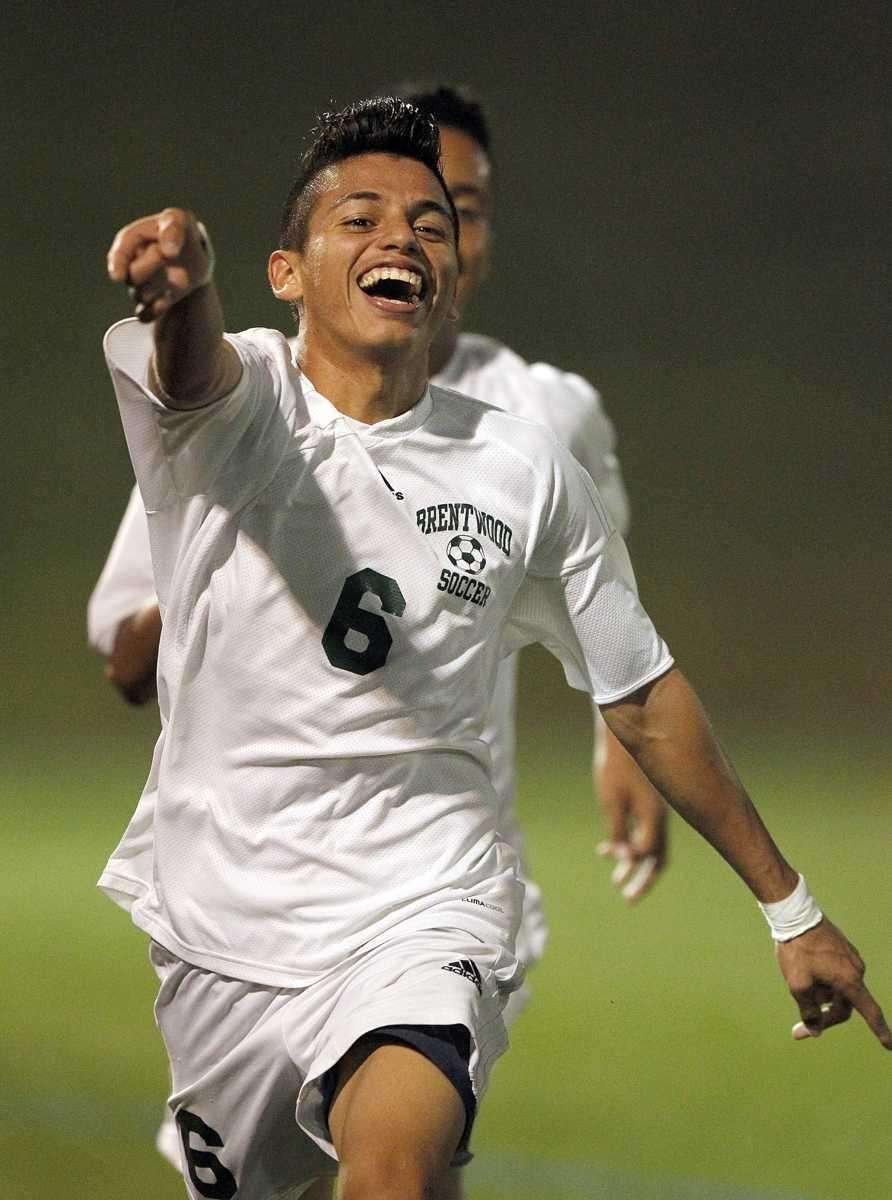 Brentwood's Ever Torres (6) celebrates his second score