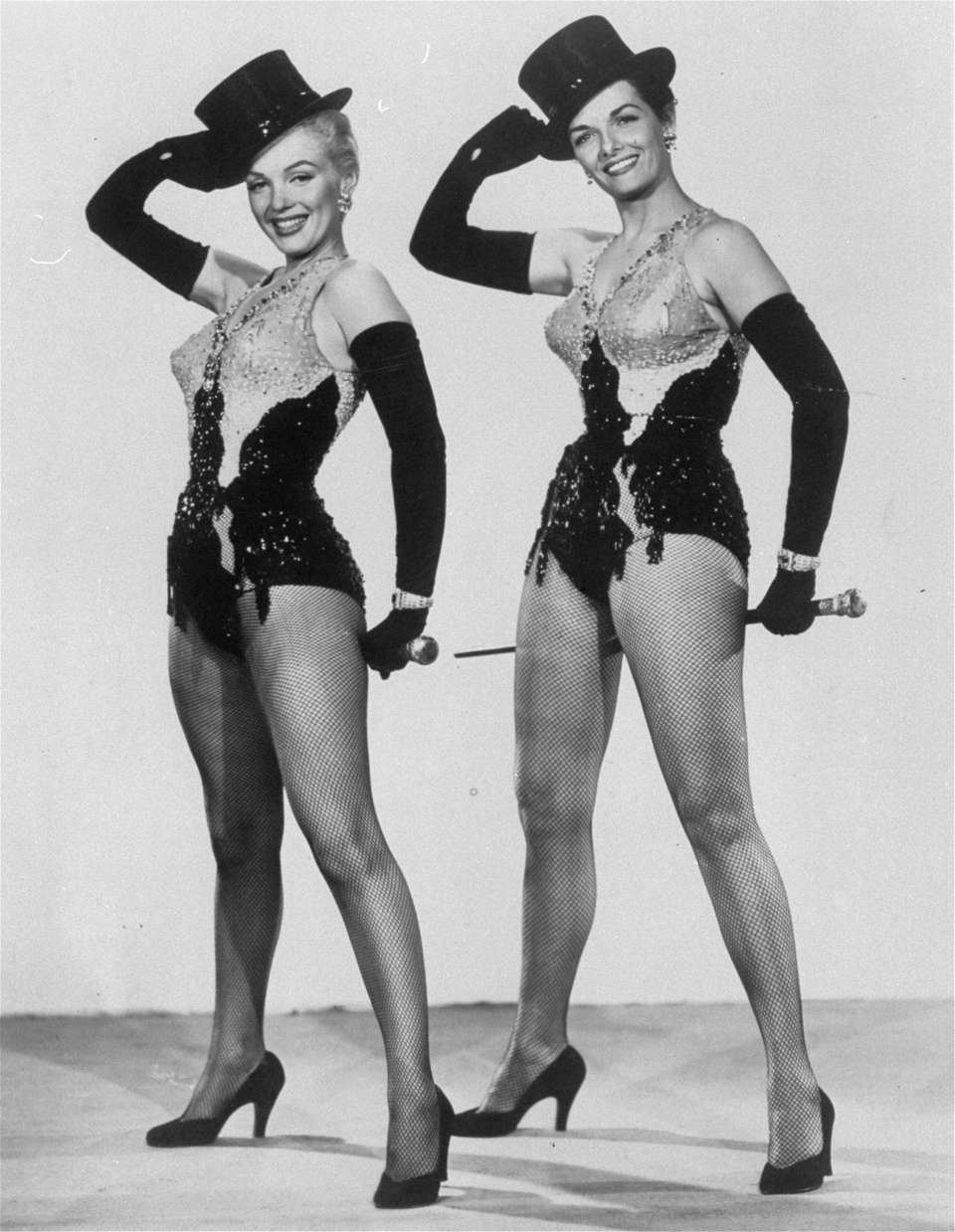 Marilyn Monroe and Jane Russell, right, in the