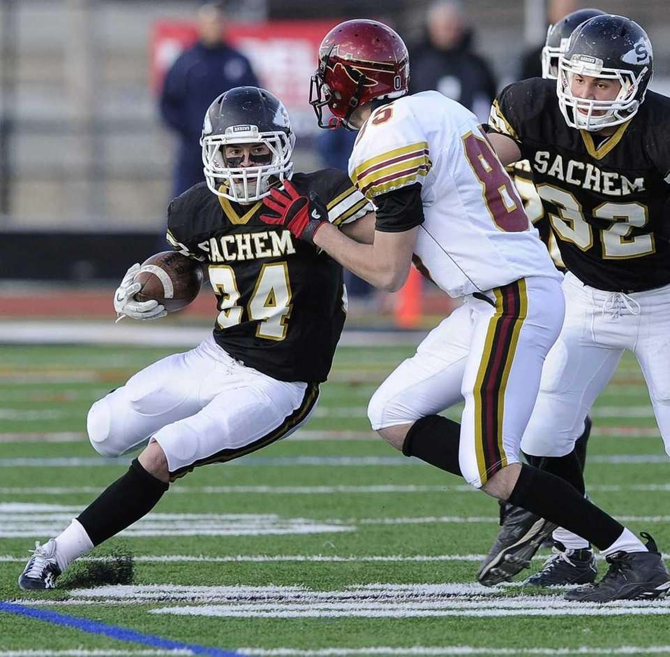 Sachem North running back Dalton Crossan tries to