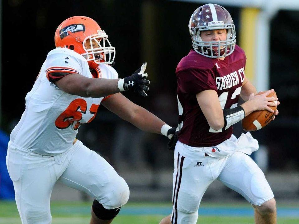 Garden City High School quarterback #12 Mike Comiskey,