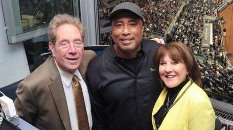 John Sterling, Bernie Willlams and Suzyn Waldman pose