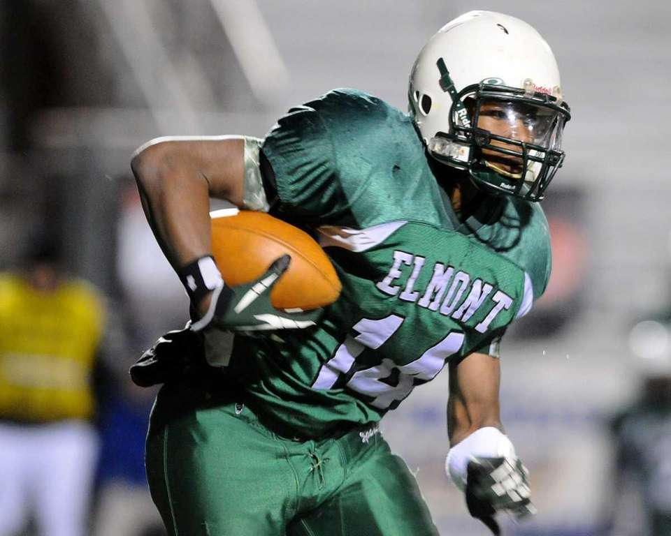 Elmont High School running back #14 Qusarn Caldwell