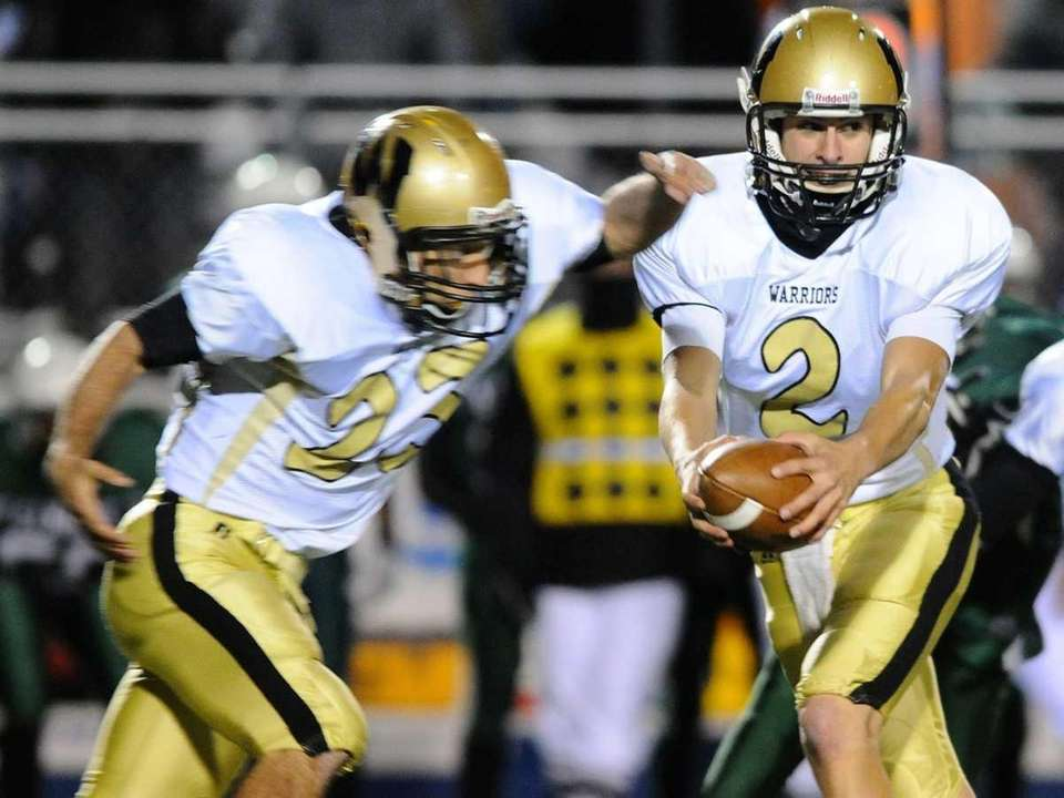Wantagh High School quarterback #2 Nick Mullen, right,