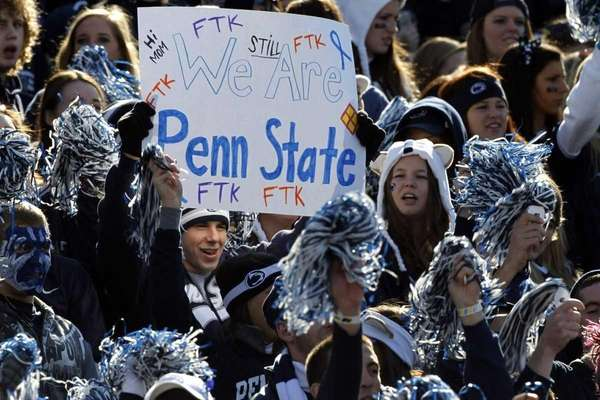 Fans cheer during the Penn State-Nebraska game in