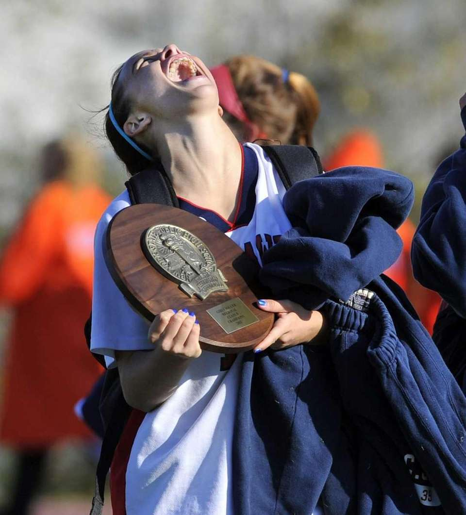 Cold Spring Harbor captain Chase Burke screams with