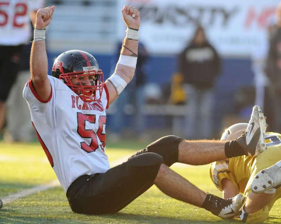 Plainedge High School #59 Joe Persico reacts after