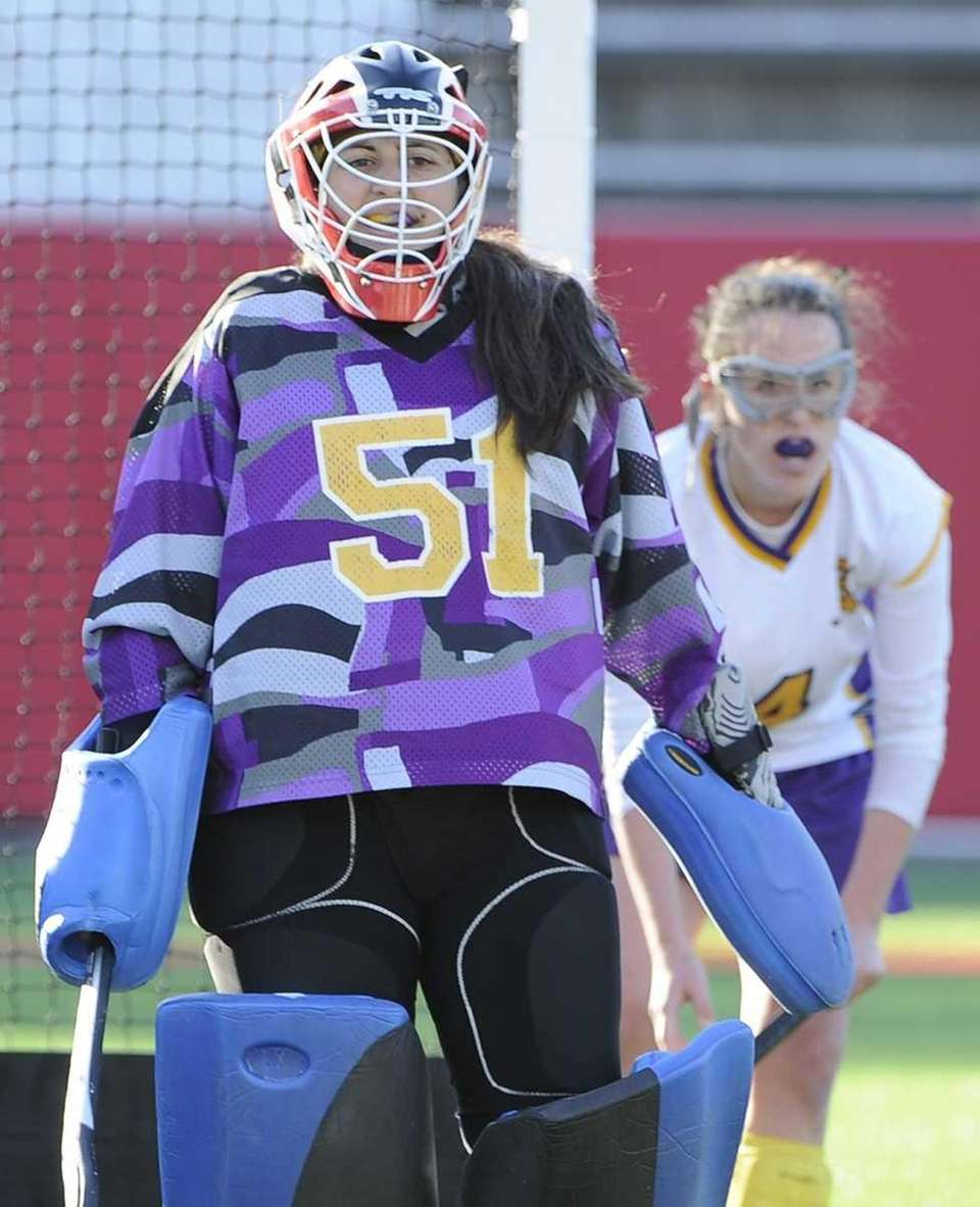 Sayville goalkeeper Gianna Minogue follows game action against