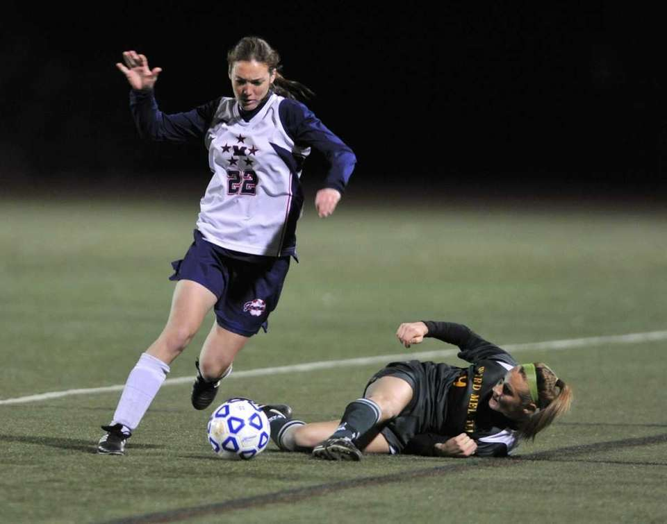 MacArthur's Sam Sherman gets the ball past a