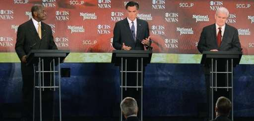 Republican presidential candidate Herman Cain, left, Mitt Romney,