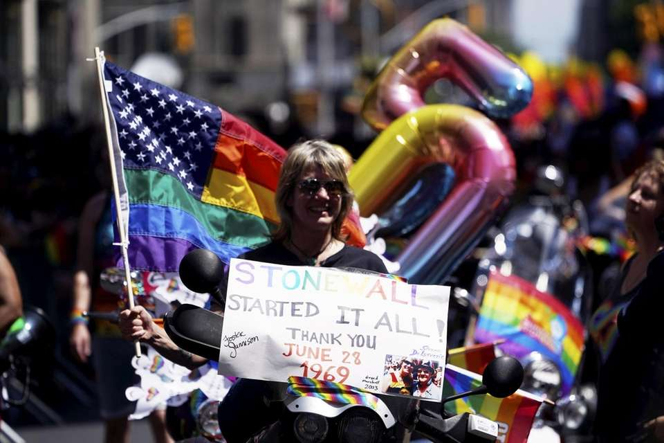 Participants march along Fifth Avenue during the NYC